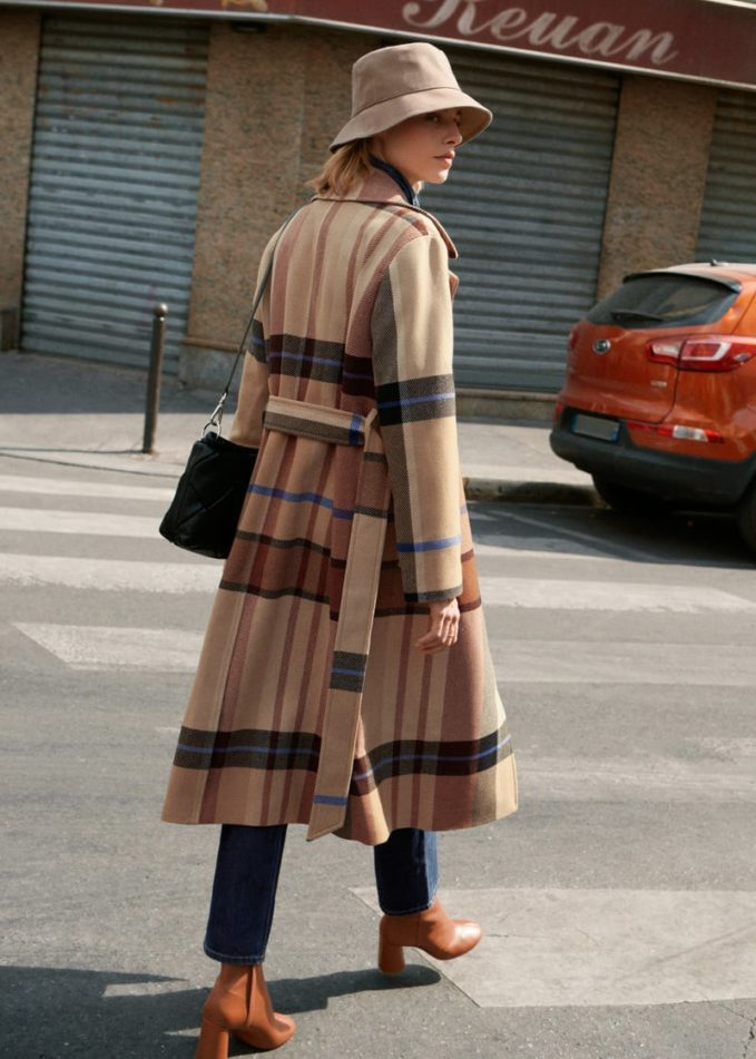 & Other Stories Plaid Wool Blend Belted Long Coat