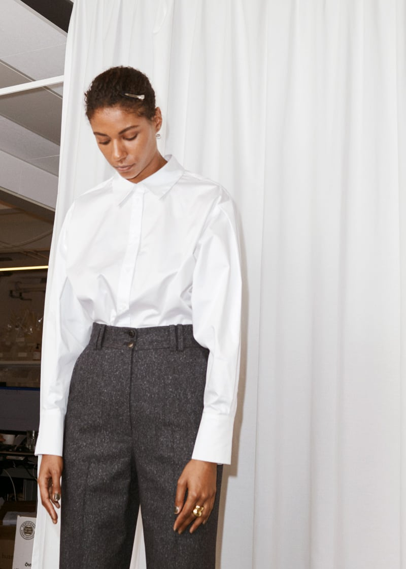 & Other Stories Pleated Shoulder Cotton Shirt