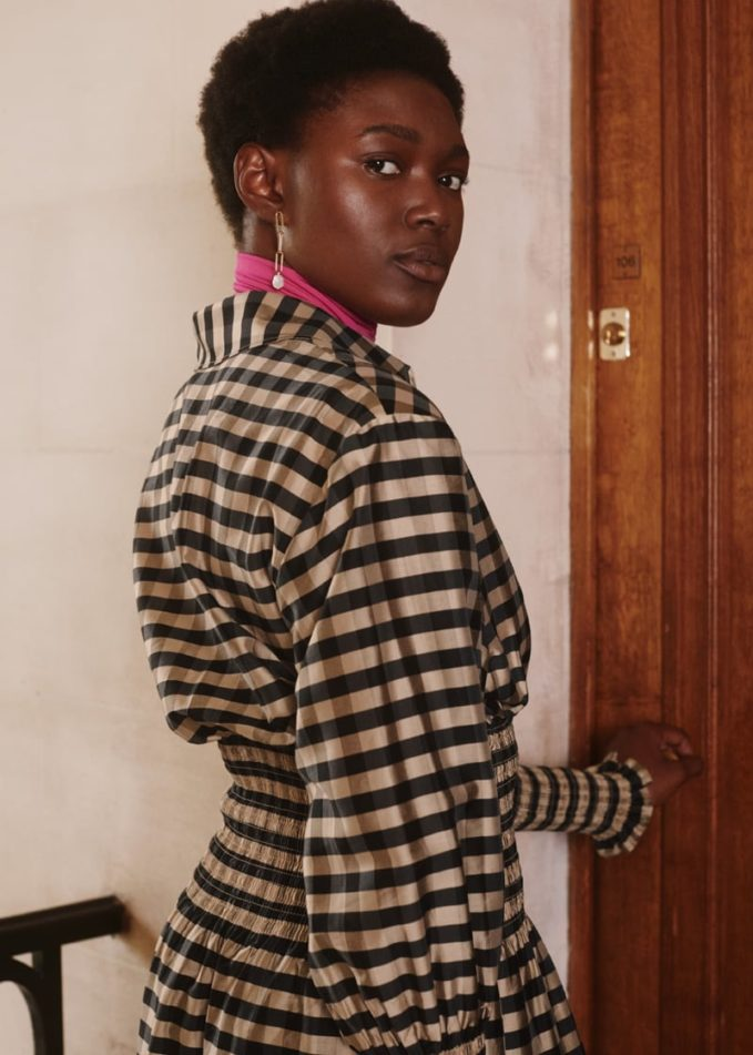 & Other Stories Smocked Plaid Midi Shirt Dress