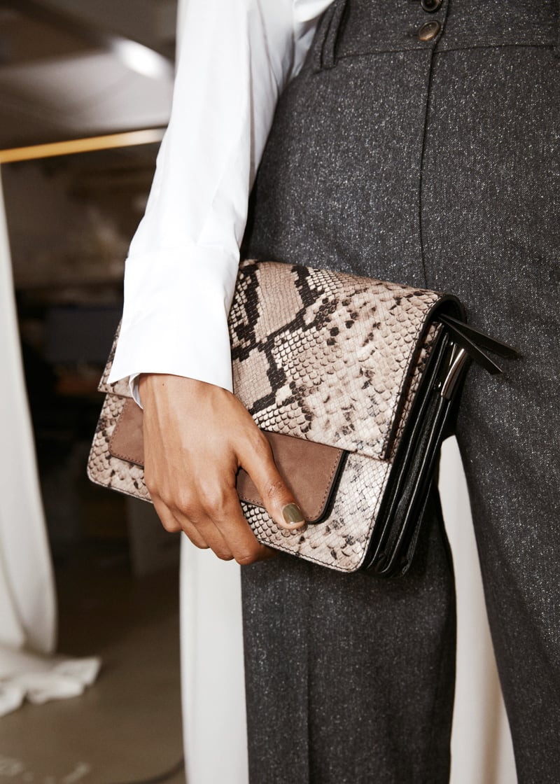 & Other Stories Snake Embossed Large Crossbody Bag