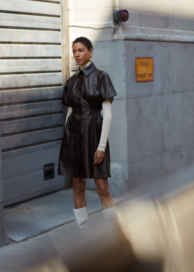 & Other Stories Structured Leather Midi Dress