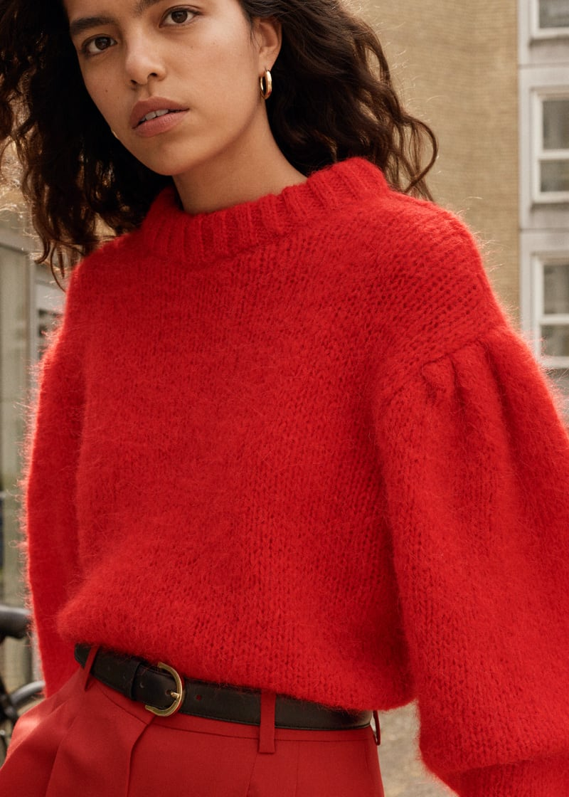 & Other Stories Wool Blend Puff Sleeve Sweater
