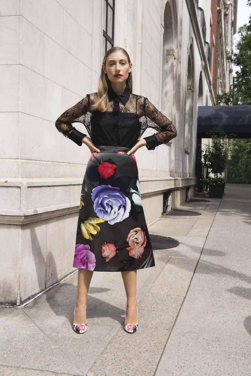 Prada Floral Duchess Satin A-Line Skirt