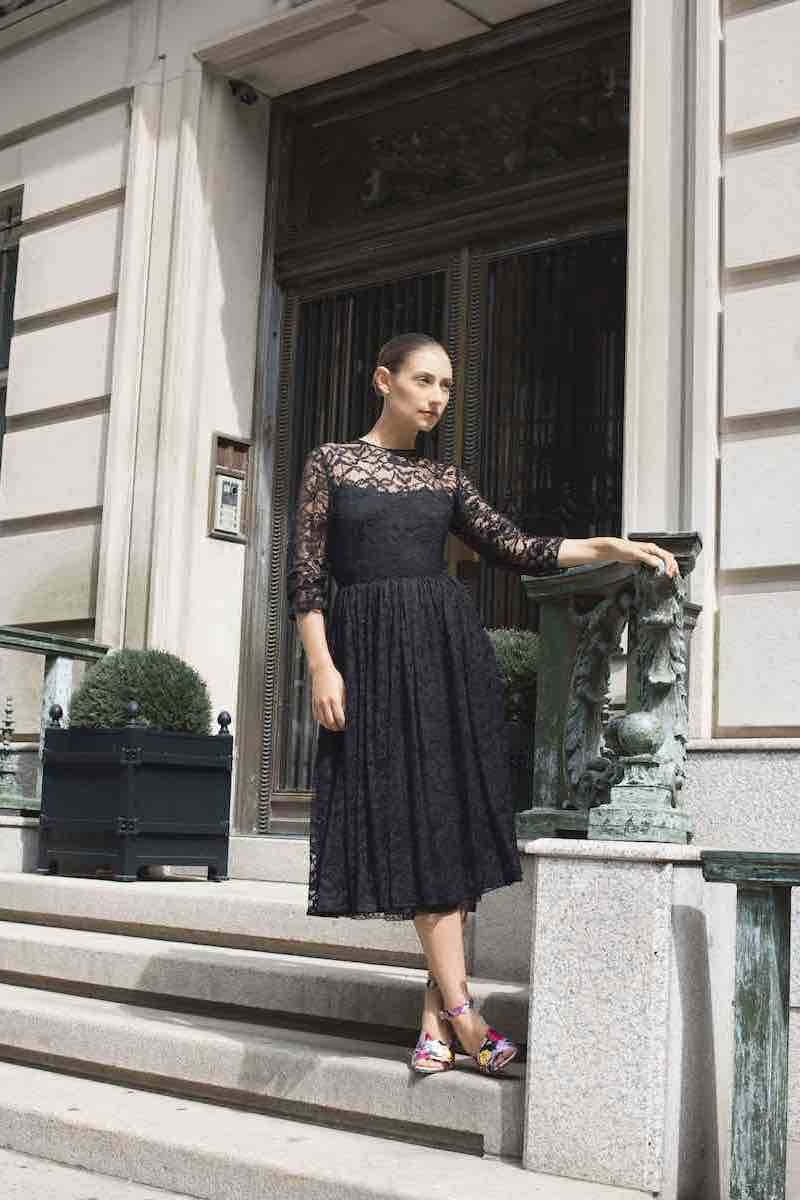 Prada Peony Chantilly Lace Dress