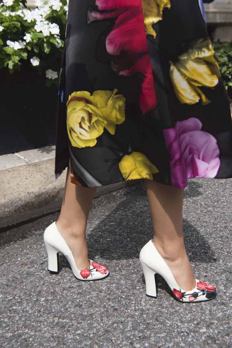 Prada Vernice St. Beauty Roses Pumps