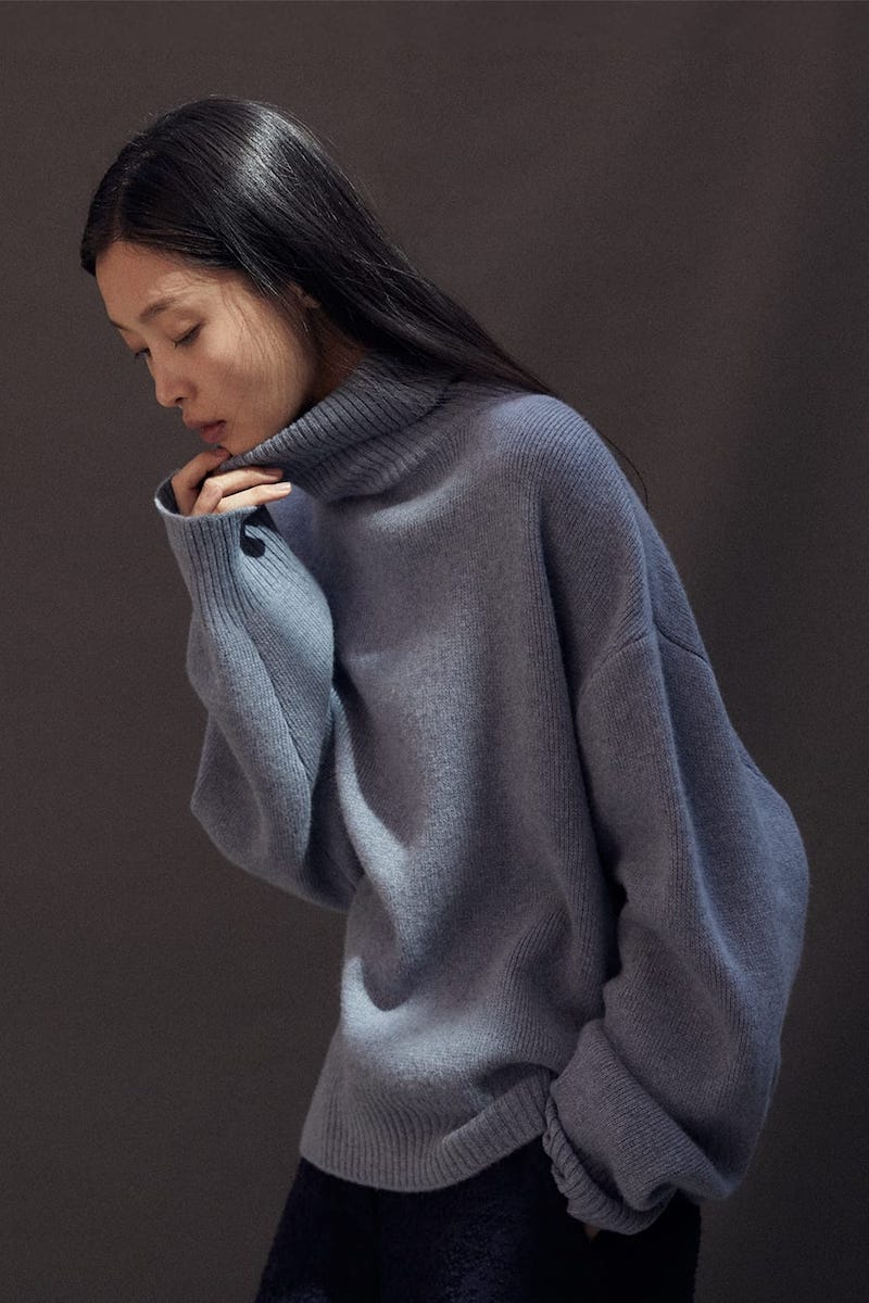 Raey Cropped Displaced-Sleeve Roll-Neck Wool Sweater
