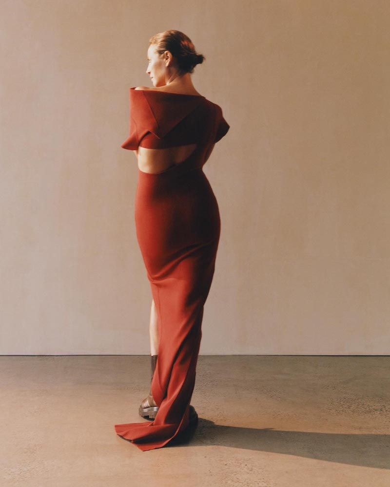 Rick Owens Patti Asymmetric Cut-Out Knitted Maxi Dress