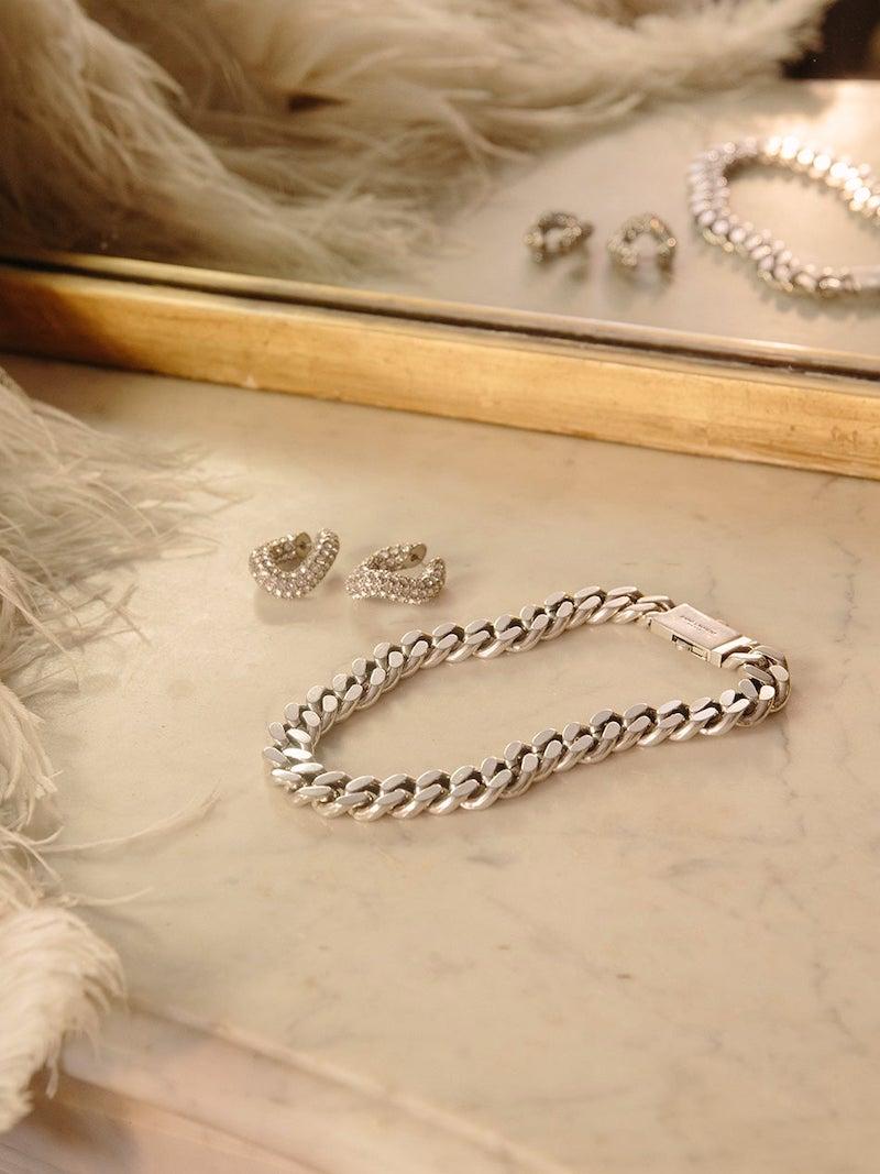 Saint Laurent Oversized Curb-Chain Silver Necklace