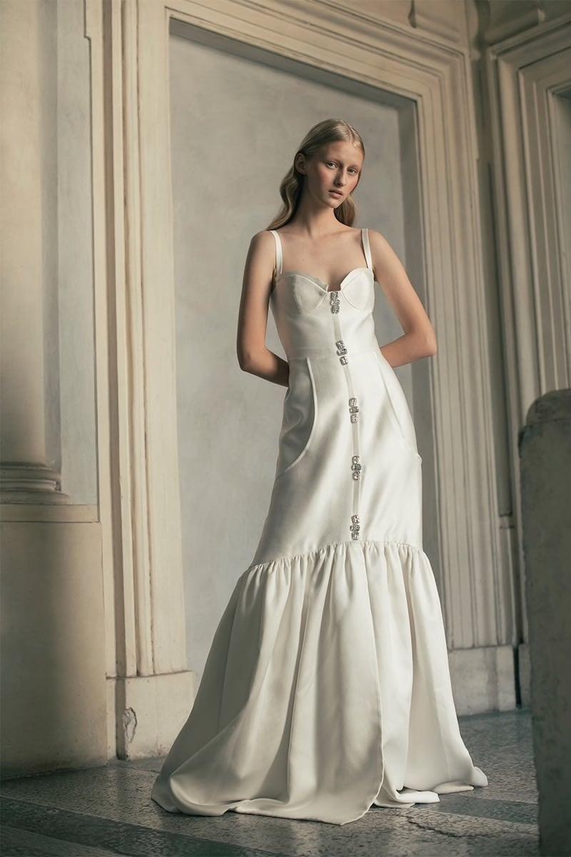 Sandra Mansour Mikado Embellished Techno Dress