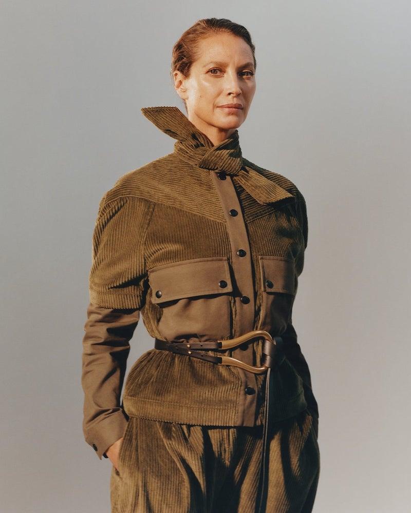 Symonds PearmaiN Neck-Tie Detachable-Sleeve Cotton-Corduroy Jacket