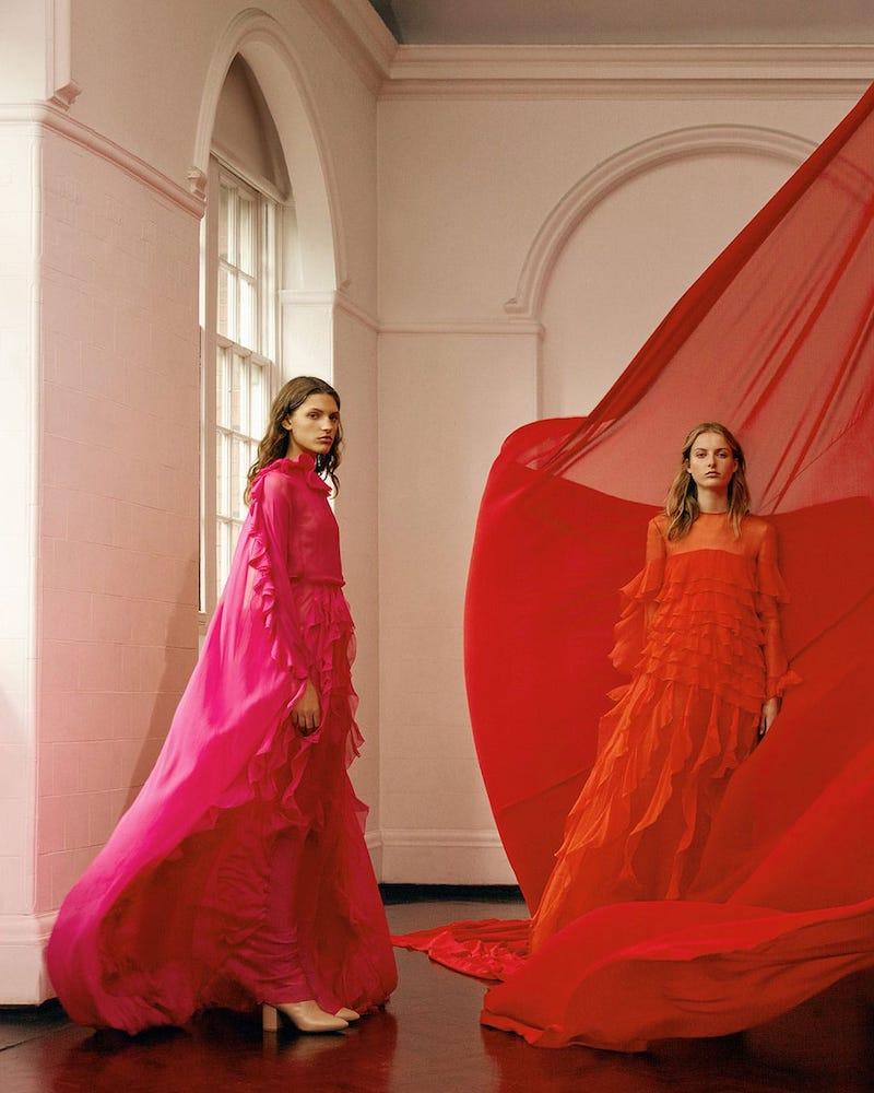 Valentino Ruffle-Collar Cape-Sleeve Silk-Chiffon Gown
