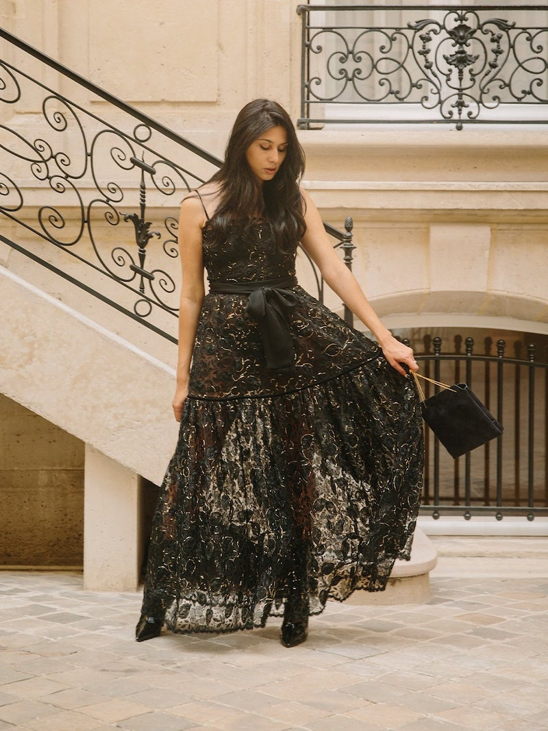 William Vintage YSL Rive Gauche Velvet Jacket and Lace Gown