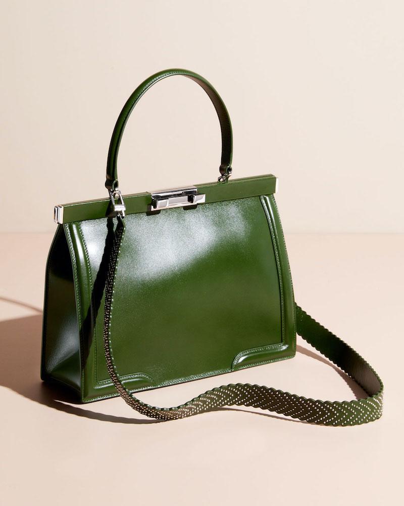ALAÏA Cecile Medium Framed Leather Top-Handle Bag