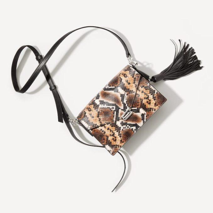 ALLSAINTS Miki Snake Embossed Leather Crossbody Bag 1