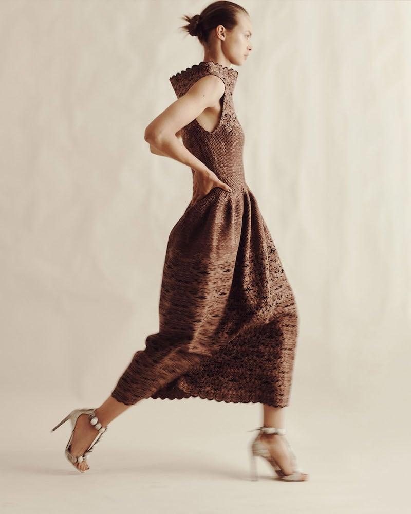 Alaïa Floral Compact Knit Midi-Dress