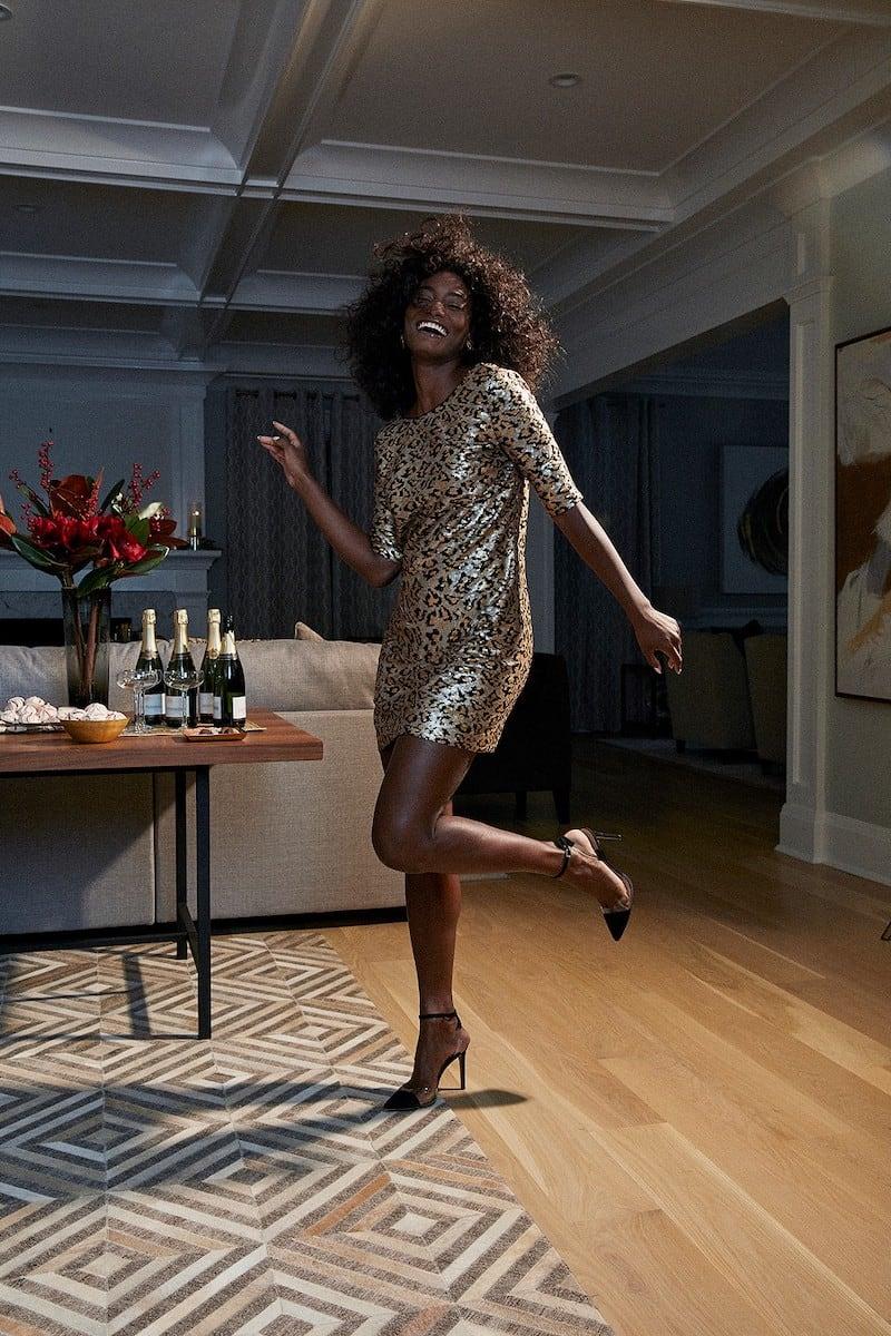 Betsey Johnson Leopard Sequin Sheath Dress