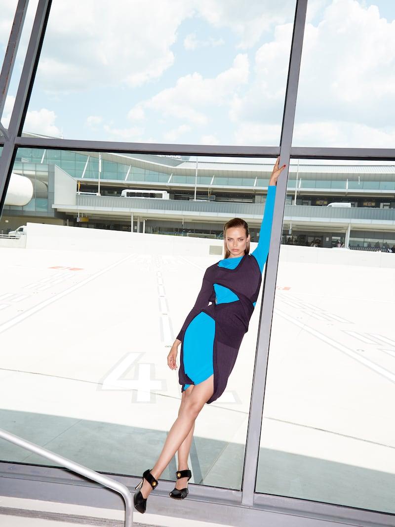 Bottega Veneta Two-Tone Cutout Jersey Midi Dress