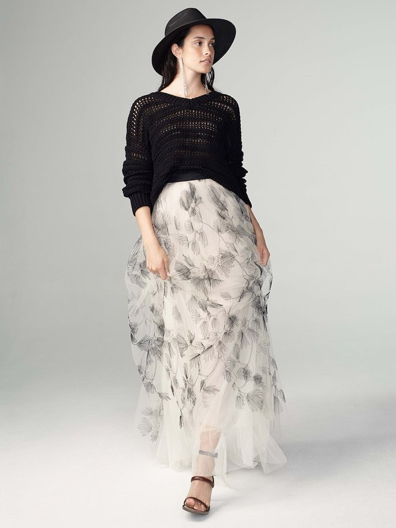 Brunello Cucinelli Raw Embroidery Tulle Maxi Skirt