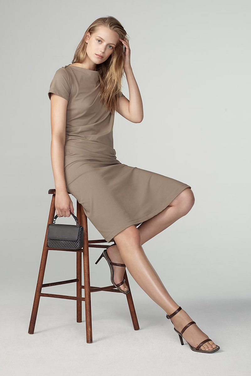 Brunello Cucinelli Short-Sleeve Jersey Couture Side Ruched Dress