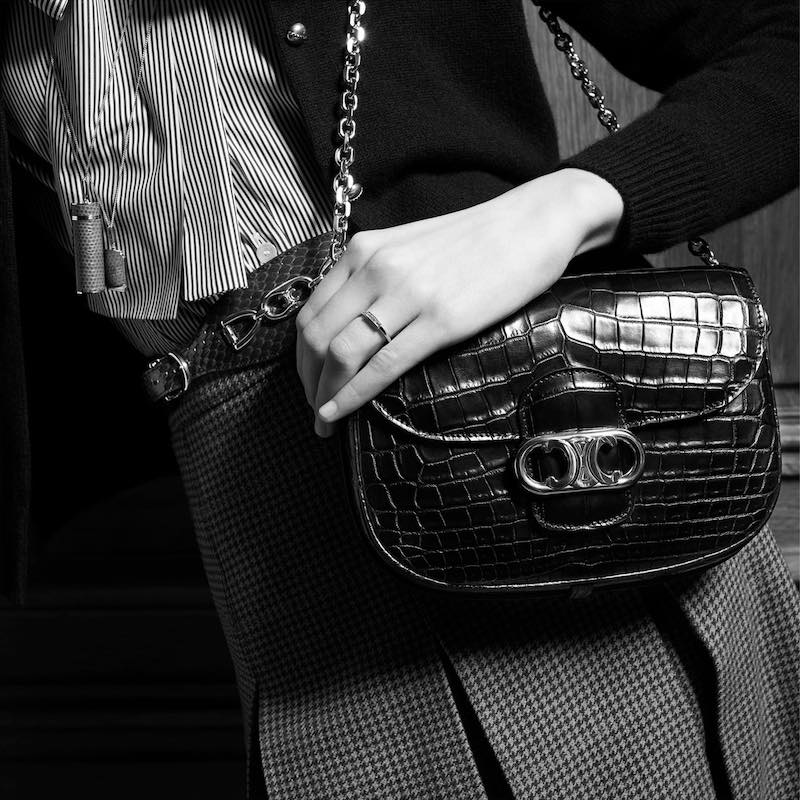"CELINE ""Chaine Maillon Triomphe"" in Black Crocodile"