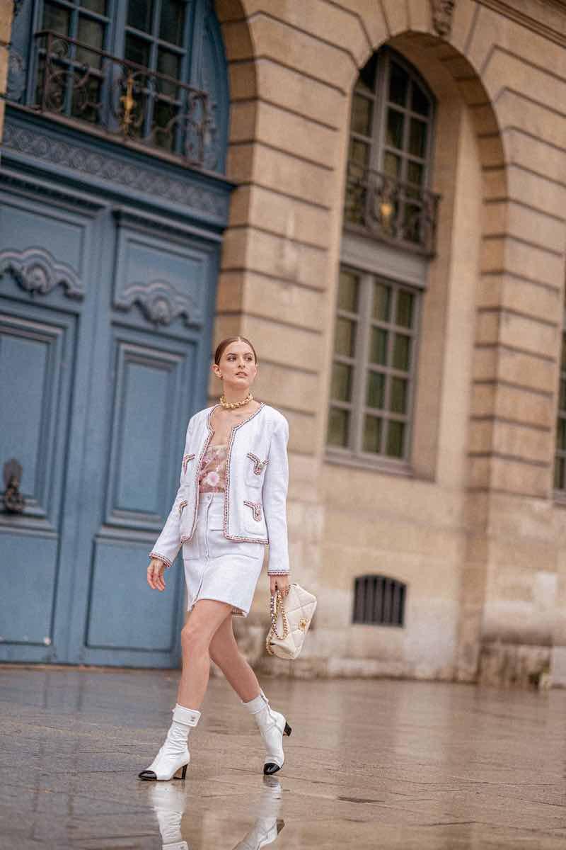 CHANEL Glittered Tweed Skirt