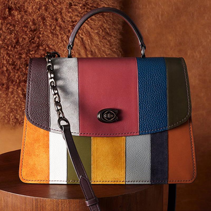 COACH Parker 32 Colorblock Stripe Leather Top Handle Bag