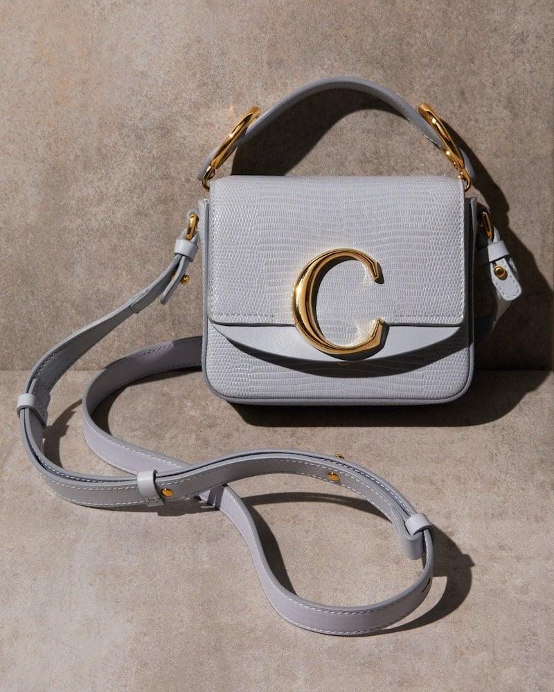Chloé C Lizard Embossed Leather Crossbody Bag