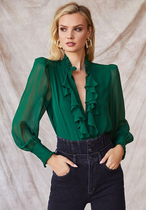 Divine Heritage Ruffle Front Top