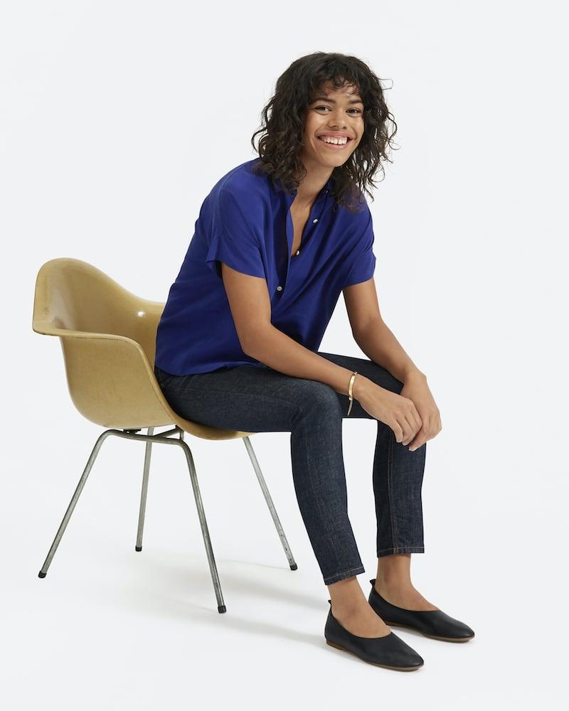 Everlane Clean Silk Short-Sleeve Square Shirt