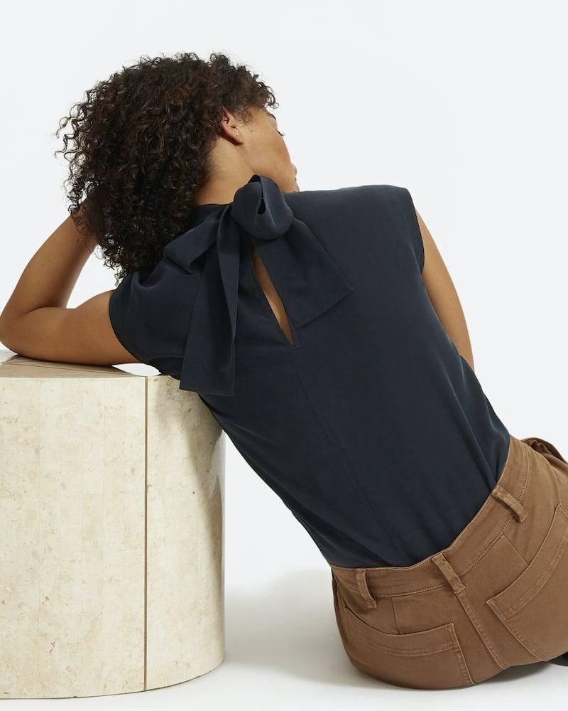 Everlane Clean Silk Tie Neck Blouse
