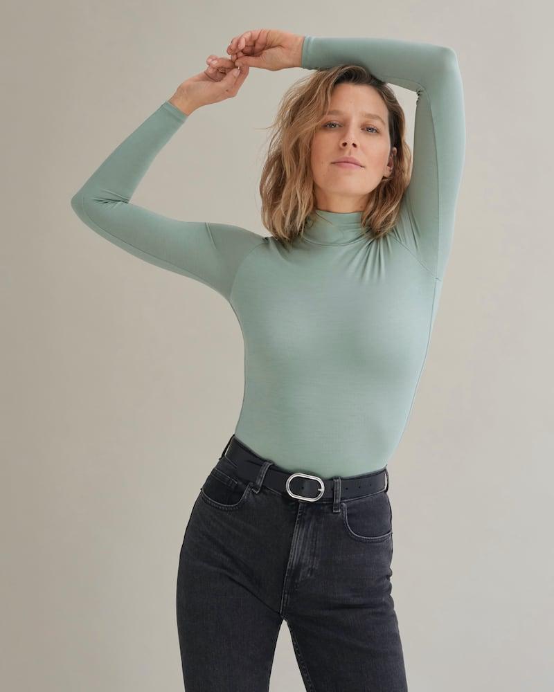 Everlane Luster Mockneck Bodysuit