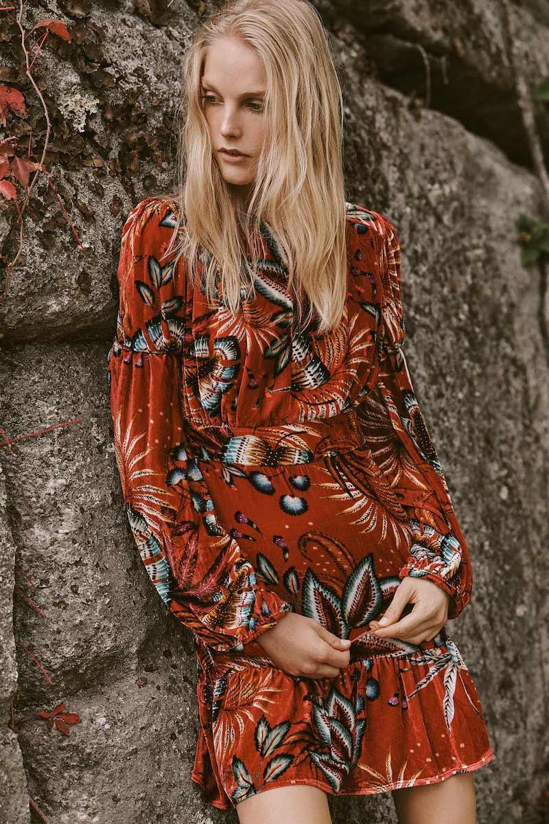 FARM Rio Winter Leaf Velvet Dress