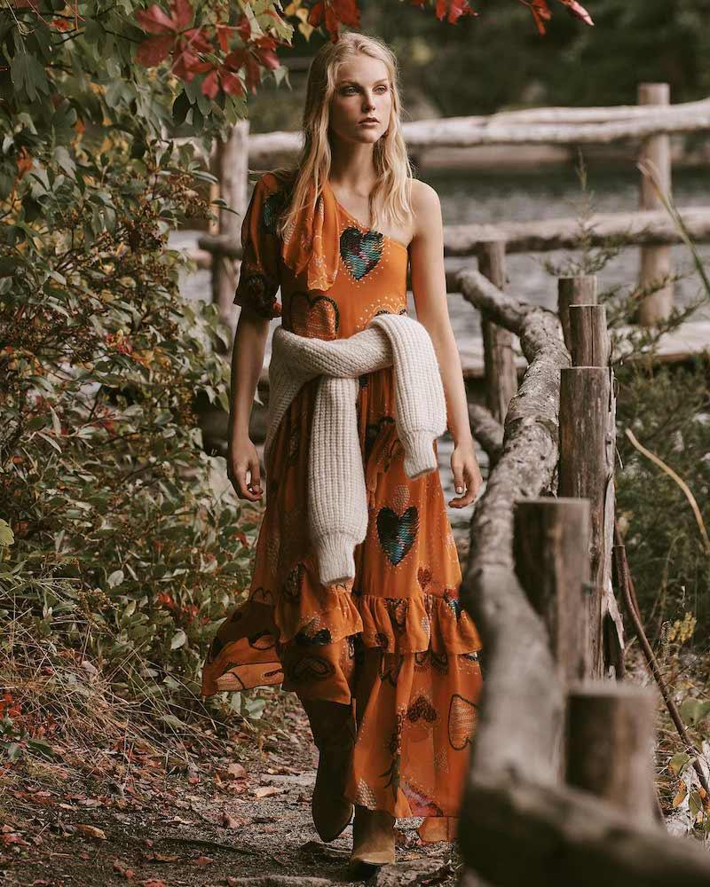FARM Rio Yellow Hearts One Shoulder Dress