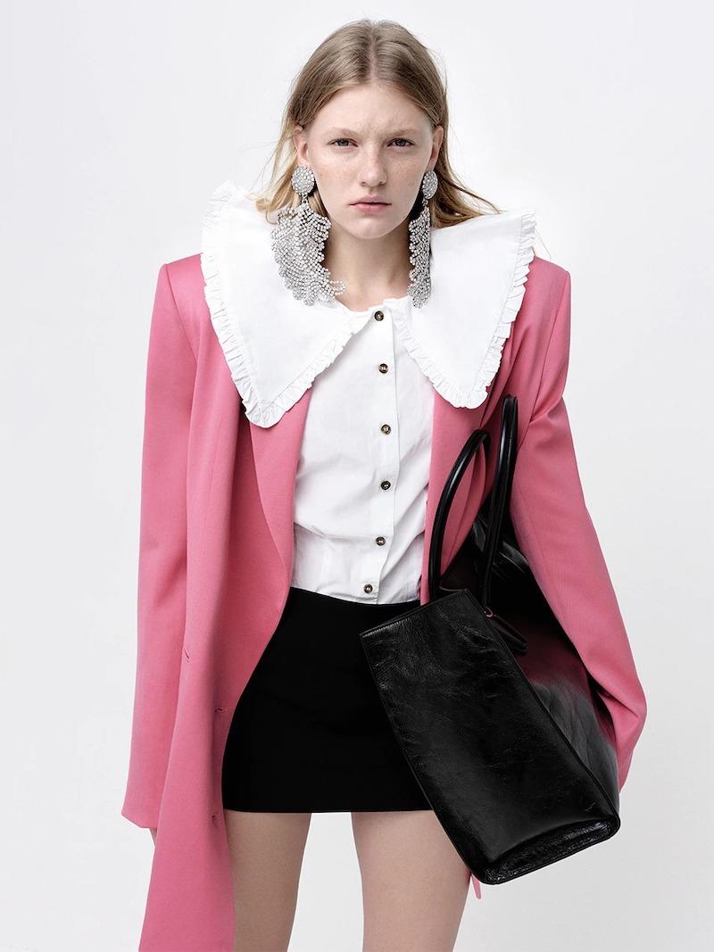 Ganni Wide Collar Cotton Poplin Shirt