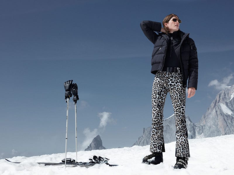 Goldbergh Roar Panther-Print Belted Soft-Shell Ski Trousers