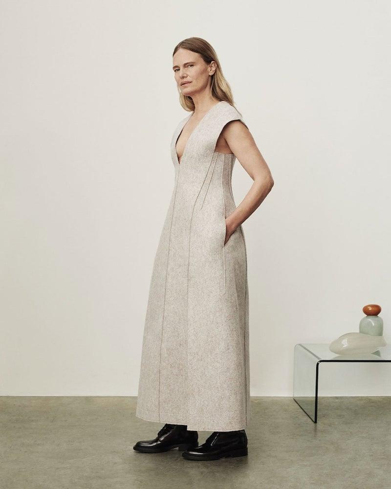 Jil Sander Side-Slit Wool-Blend Felt Dress