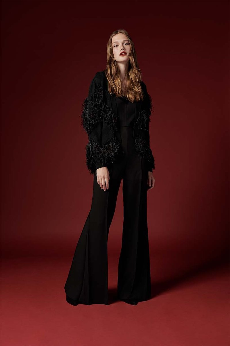 Kobi Halperin Clea Sweater With Fringe Ostrich Feathers