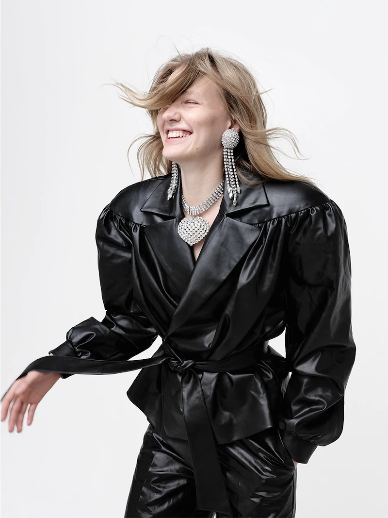 Lesyanebo Ruffled Faux Leather Jacket W: Belt