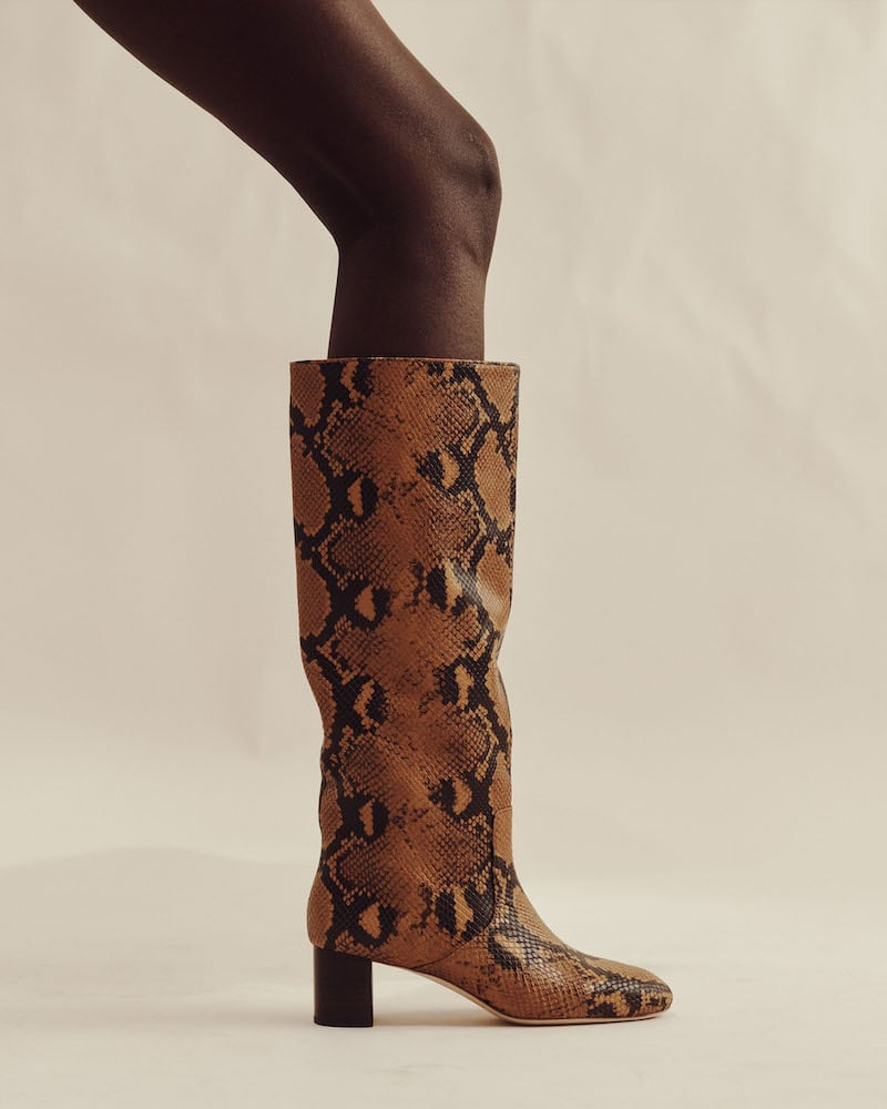 Loeffler Randall Gia Snakeskin-Stamped Leather Knee Boots