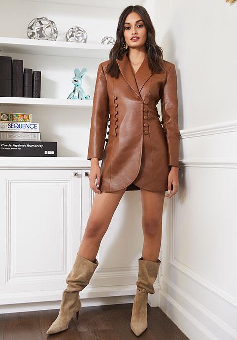 MATERIEL Faux Leather Blazer Dress