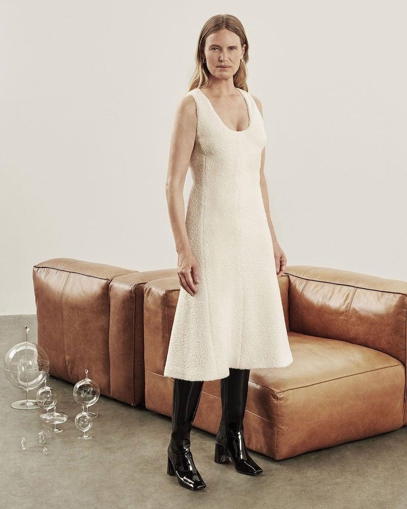 Marina Moscone Scoop-Neck Wool-Blend cloqué Midi Dress
