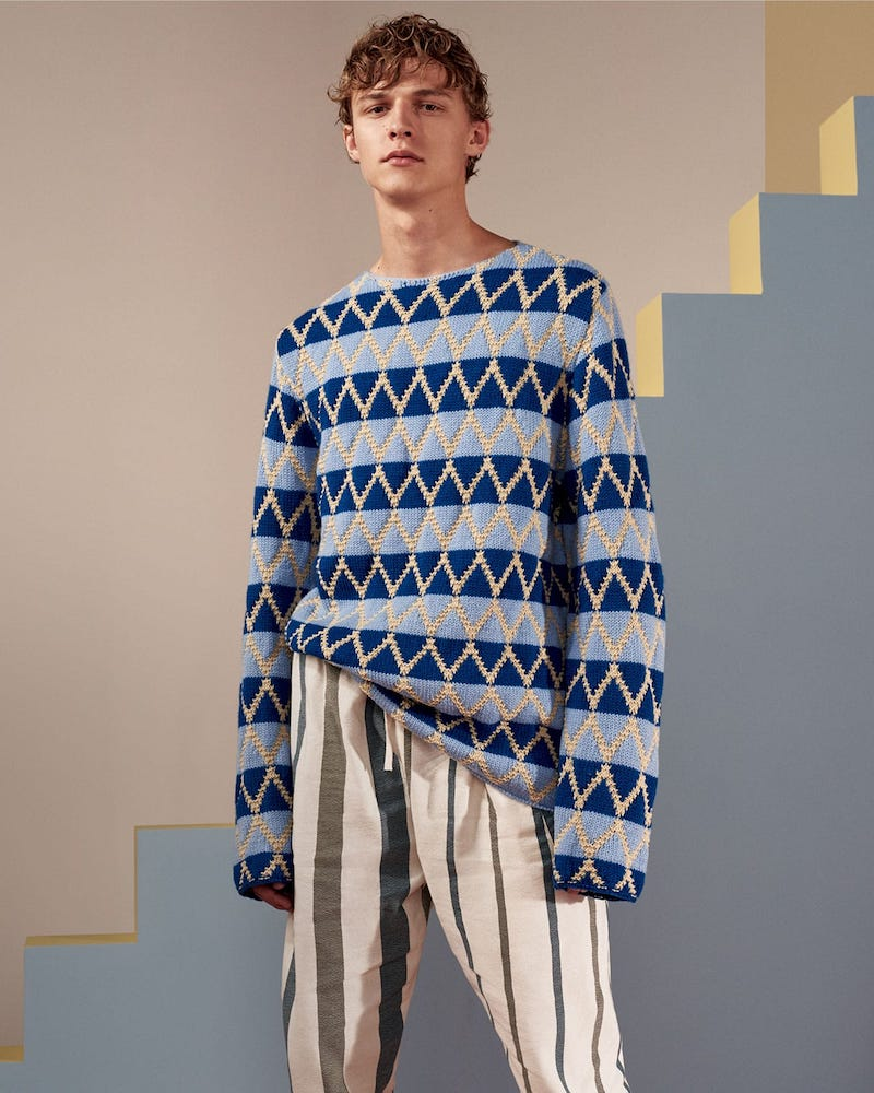 Marni Diamond-Intarsia Striped Sweater