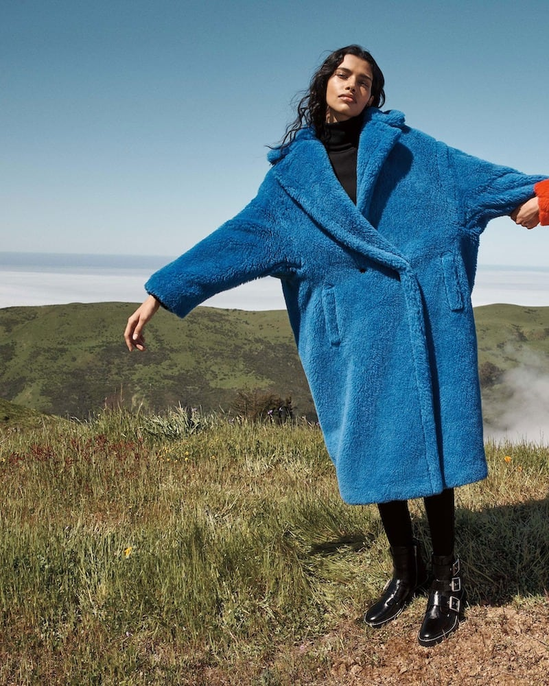 Maxmara Alpaca-Silk Teddy Knit Coat