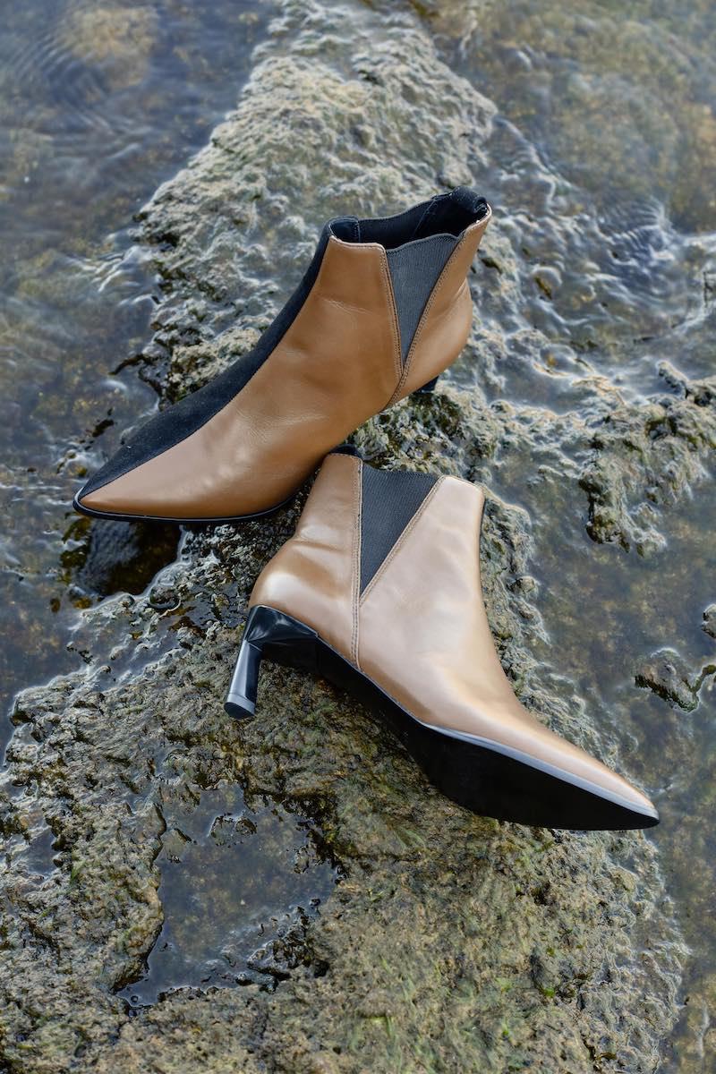 Mercedes Castillo Mc Eletta 60mm Two-Tone Mixed Leather Booties
