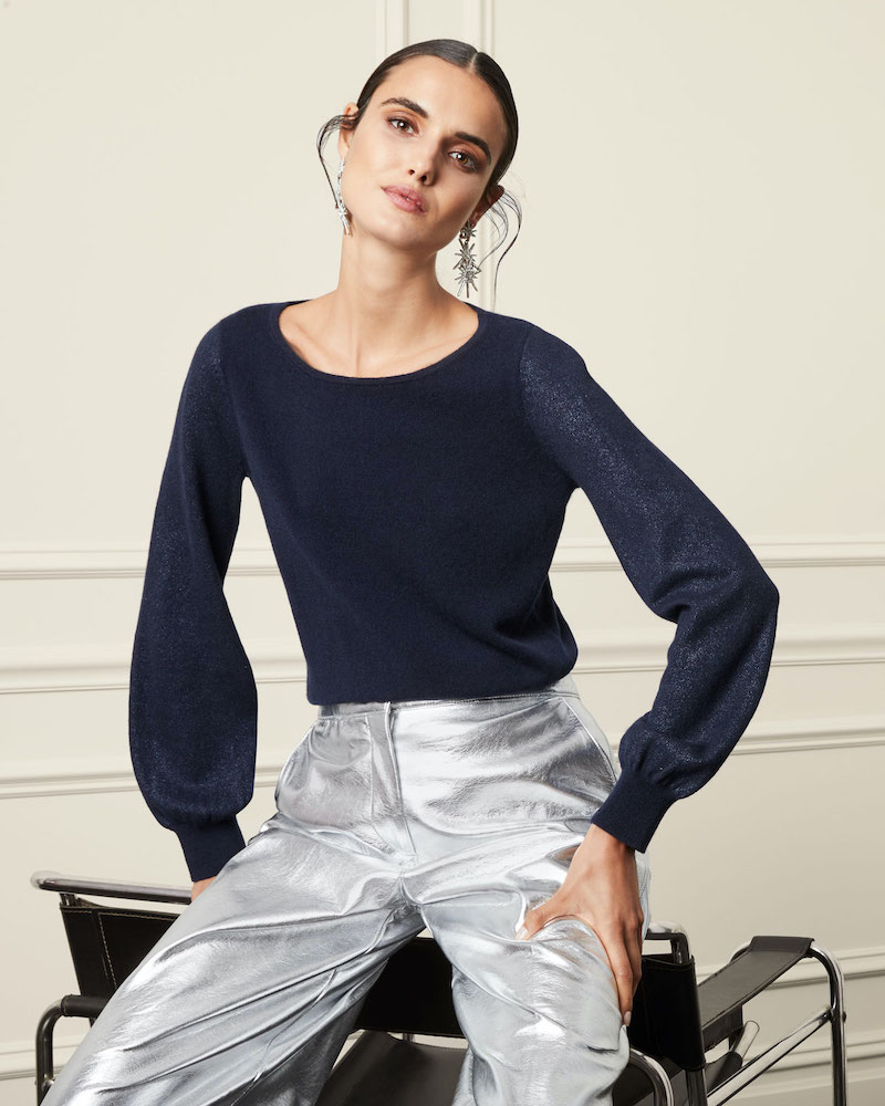 Neiman Marcus Cashmere Collection Cashmere Metallic Balloon Sleeve Crewneck Sweater