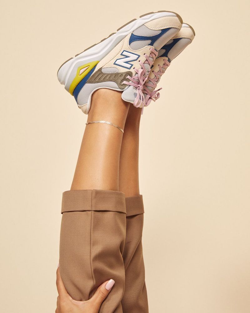 New Balance x Reformation X90 Sneakers in White Blue