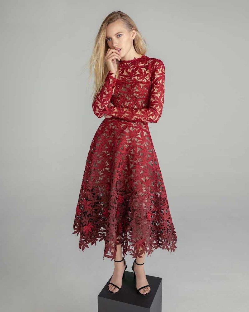Oscar de la Renta Maple Leaf Embroidered Long Sleeve Midi Dress