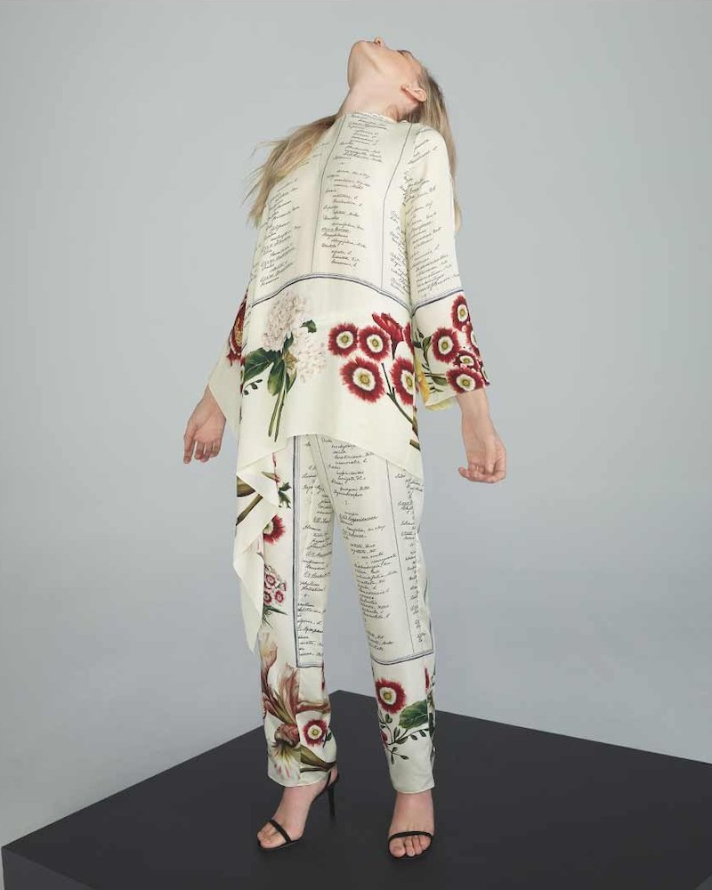 Oscar de la Renta Script & Floral Pleated Georgette Pants