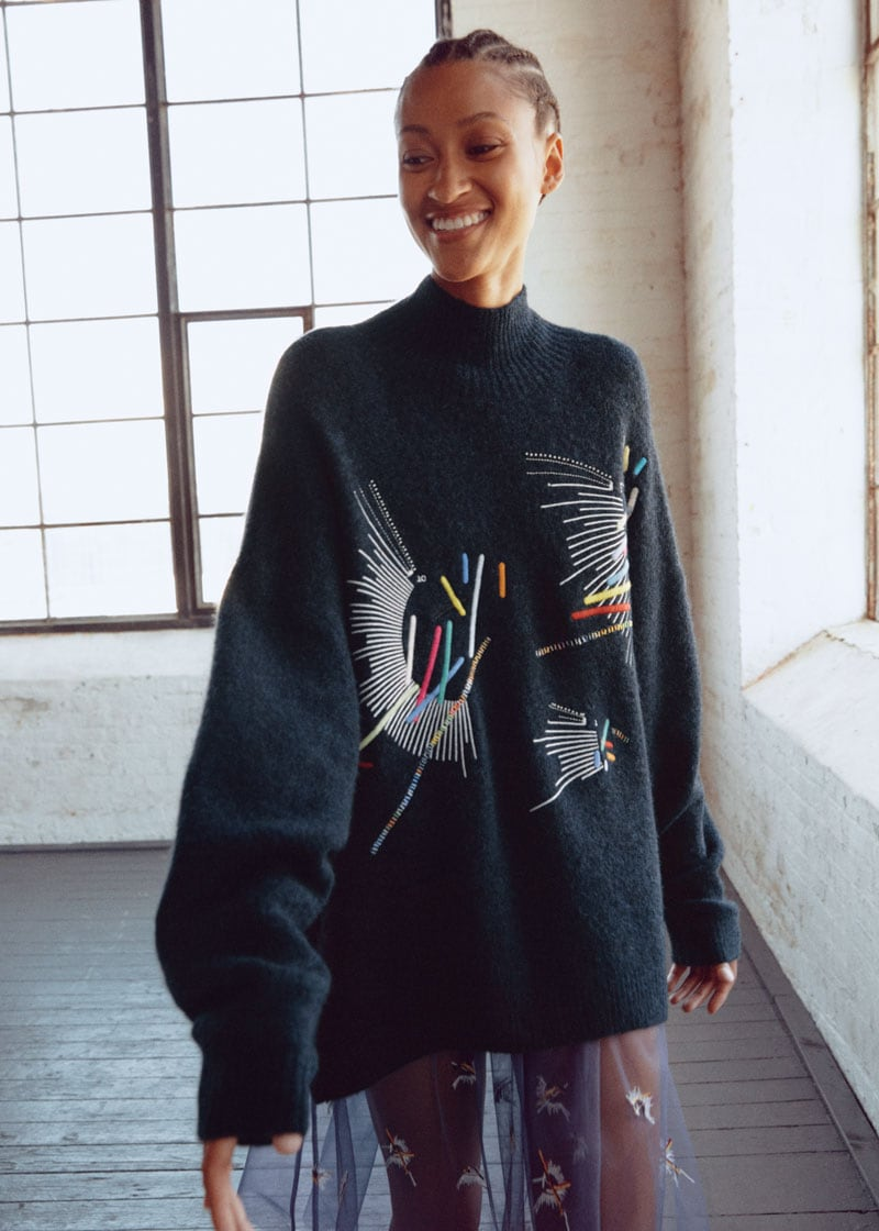 & Other Stories Embroidered Mock Neck Wool Blend Sweater