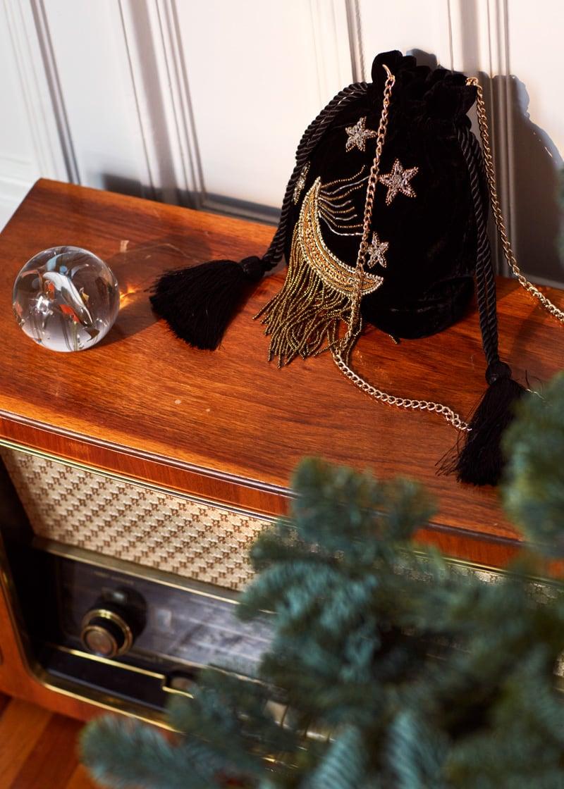& Other Stories Embroidered Moon Crossbody Velvet Bag